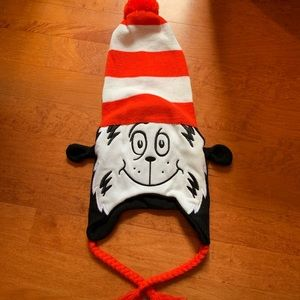cat in the hat fall/winter hat red white and black